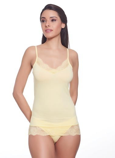 Sevim Dantelli Kadın Atlet Sarı